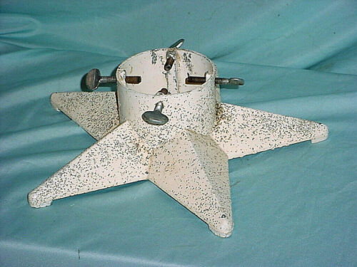 Lovely Antique Christmas Tree Stand Star Shape Glitter Mitee Metal White USA