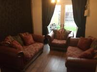 Brown leather and fabric 2 2 seater sofas and 1 armchair
