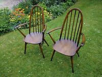 A pair of Ercol Windsor 365A Quaker Carver Chairs Mid Century Retro just £45 each