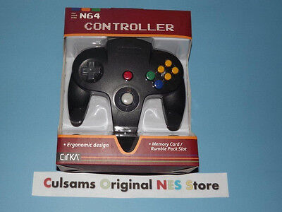 NINTENDO 64 N64 (SOLID-BLACK) CONTROLLER WITH A 30 DAY GUARANTEE