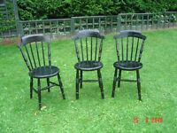 Three Black Painted Wooden Chairs. Can Deliver.