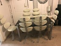 Dining Table with 6 chairs rotating modern style