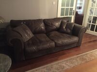 MULTIYORK Brown Leather Sofa & 2 Armchairs (£350 for quick sale)