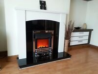 Electric fire with Marble surround and Hearth.