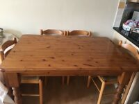 Pine wood dining table and 4 chairs
