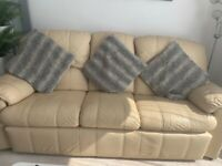 Cream leather sofa suite & 2 armchairs available