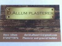 D. Allum plasterer over 20 years experience in all aspects of plastering