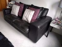 x2 DFS Zennah Black Leather Sofa's Bought for £2700 - Good Condition