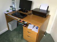 Oak veneered computer desk & 2 drawer filing/storage cabinet