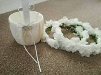 Brilliant condition bridesmaid/flower girl basket and head pieces