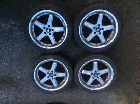 Alloy wheel Rims c/w part worn Michelin pilot Alpin tyres off VW Passat