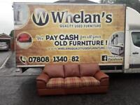 3 seater sofa in a brown leather with a tartan fabric on seats in new condition £135