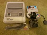 Nintendo snes with super mario kart