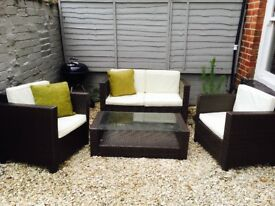 Garden Furniture Eastbourne 2 seater rattan lounge set in brown | in eastbourne, east sussex