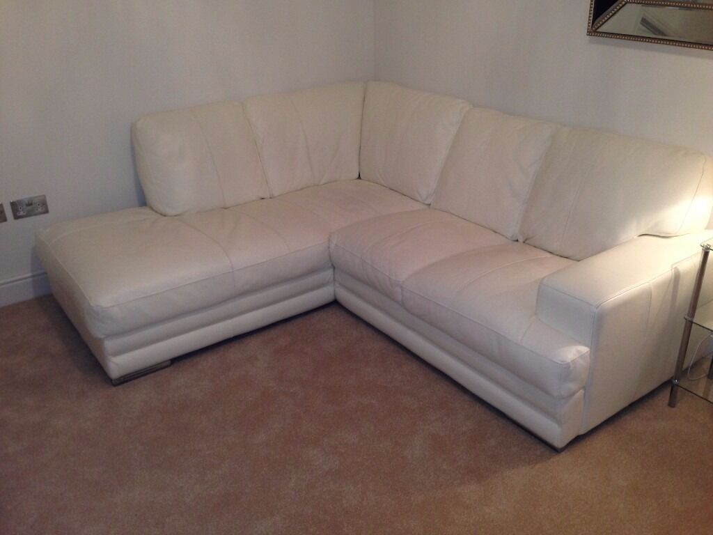 Dfs White Leather Corner Sofa Two Seater Combo