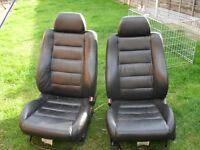 Leather car seats pair 2 x black Honda Civic or will fit VW van/campervan