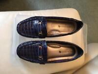 Shuropody Blue Mock Croc Loafers - UK6