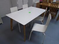 Ex Display Dining Table And 4 Matching White Chairs. Few Small Marks From Being On The Shop Floor
