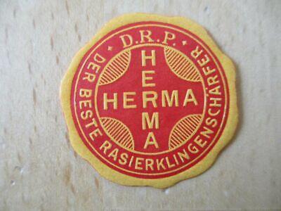 (1288) Reklamemarke / Vignette Herma der beste Rasierklingenschärfer