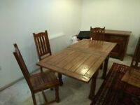 Butterfly dining table,6 chairs, sideboard and wine cabinet