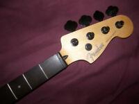 Fender Squier Modified Precision Bass Neck + Black Schaller Tuners.
