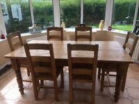 Farmhouse Style Dining Table With Matching Chairs For Sale