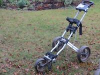 Powakaddy 3 wheel push golf trolley, complete with scorecard and ball holder, straps etc.