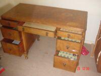 Vintage Walnut veneer Dressing table with 7 Drawers