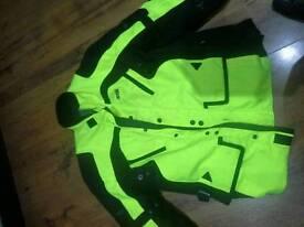IXS textile armoured motorbike jacket, high viz, size XL