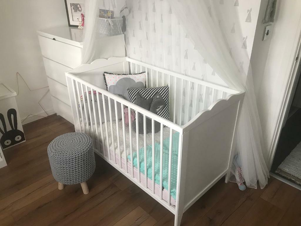 IKEA white baby cot with mattress