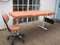 Beautelle Beauty/Massage/Treatment Couch and Hydraulic therapist chair.
