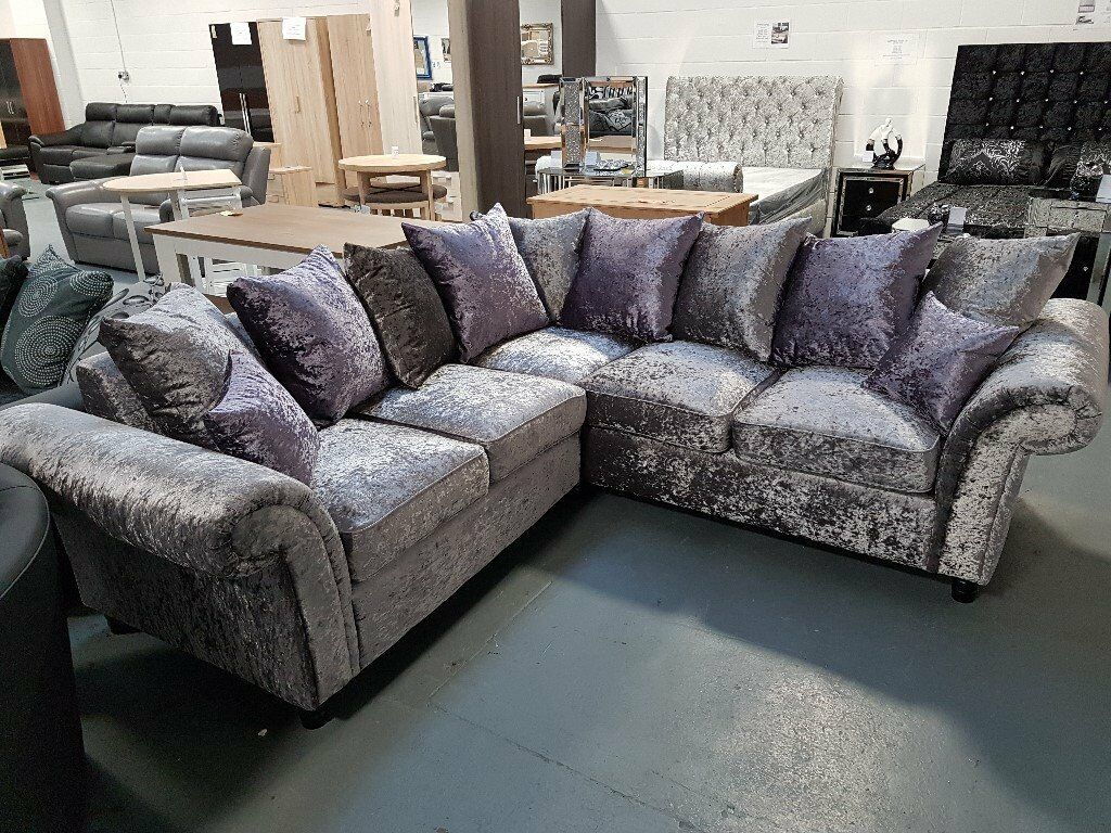 Brand New Crush Velvet Corner Sofa. Silver/Purple Or Silver/Black. Comes