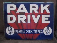 park drive cigarettes double sided enamel advertising sign