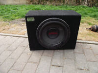 """Earthquake 12"""" subwoofer in carpeted box"""