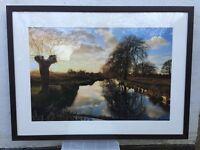 Framed Landscape Photograph - Bushy Park Lake in January Sunshine
