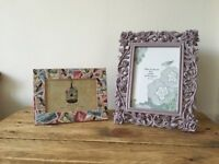 Two Decorative Photo Frames (purple, flowers, stamps)