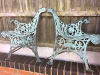 Vintage Ornate Cast Iron Garden Bench Ends-- Can Deliver ( Very Heavy )