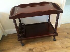 Beautiful Mahogany Drinks Trolley On Wheels