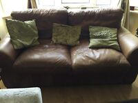 Sofa - small brown leather