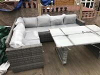 L shaped corner sofa - Outdoor garden patio dining / entertaining set - delivery available