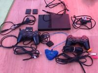 PS2 Slim Black, complete, with all cables and bits!