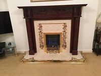 Reduced Again ! Mahogany fireplace with tile inset brass fender and real flame gas fire. Looks New!