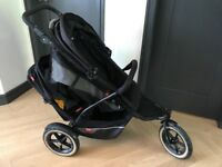 Phils & Teds Double Buggy / Pram / Stroller with Rain Cover & Cocoon