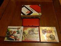 Nintendo 3DS XL RED Boxed + 3 Games