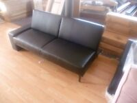 Black leather Corner Sofa Bed 2/3 Seater 2 Sleeper