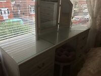 White 6 drawer dressing table with stool and mirror