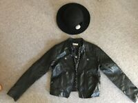 Girl's Black Faux Leather Jacket