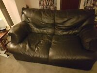 Leather Sofas x 3 & Two Armchairs - Blue - Very Comfortable