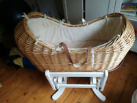 Moses Basket and White Gliding Stand - never used