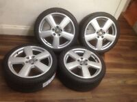 """AUDI A4 A3 RS4 A6 SEAT LEON 5X112 18"""" GENUINE 5 SPOKE RONAL S-LINE ALLOY WHEELS 4 BRAND NEW TYRES"""